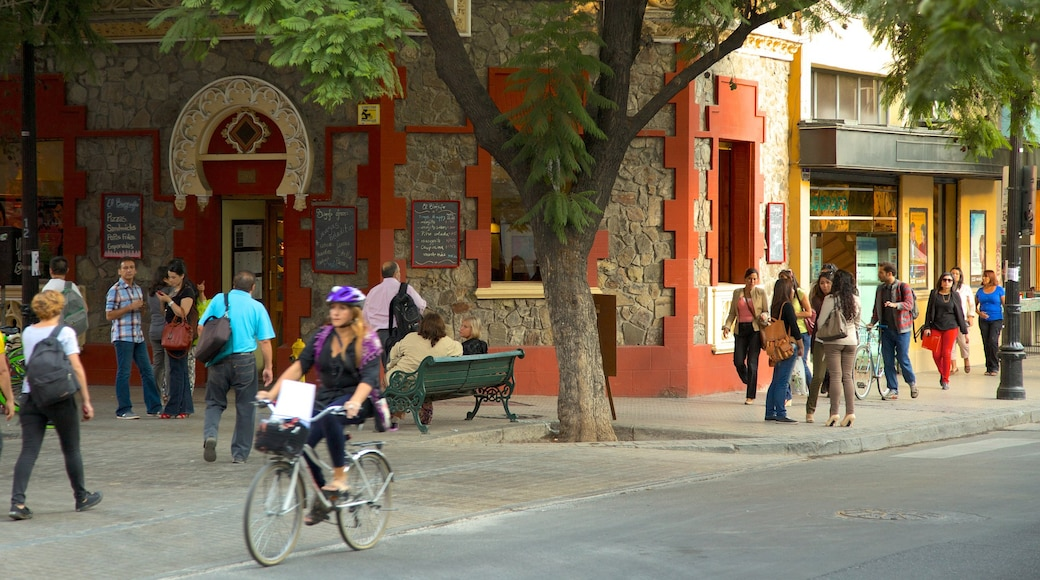 Lastarria showing street scenes as well as a large group of people