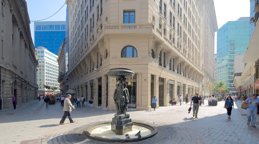 Santiago which includes a city, a statue or sculpture and a square or plaza
