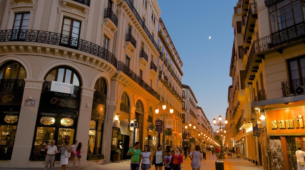 Zaragoza ofreciendo escenas nocturnas, arquitectura patrimonial y compras