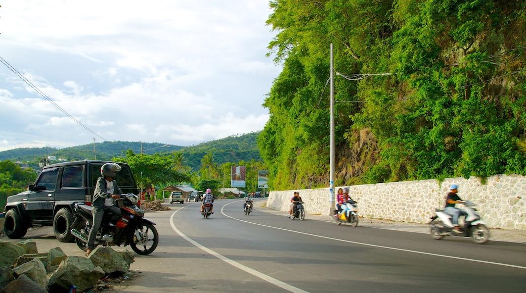 Senggigi showing street scenes and motorcycle riding