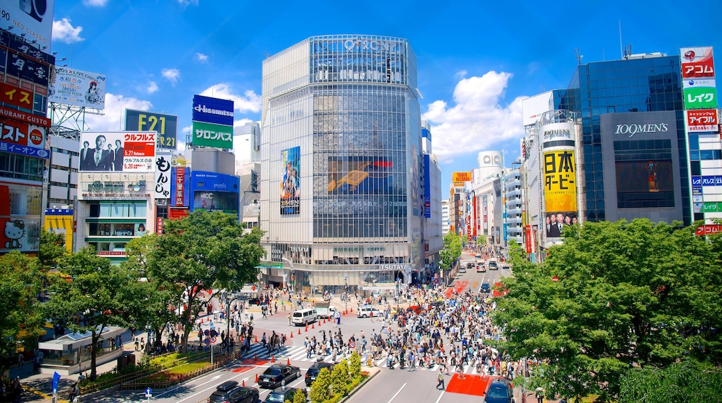 Shibuya which includes cbd, a square or plaza and a high rise building