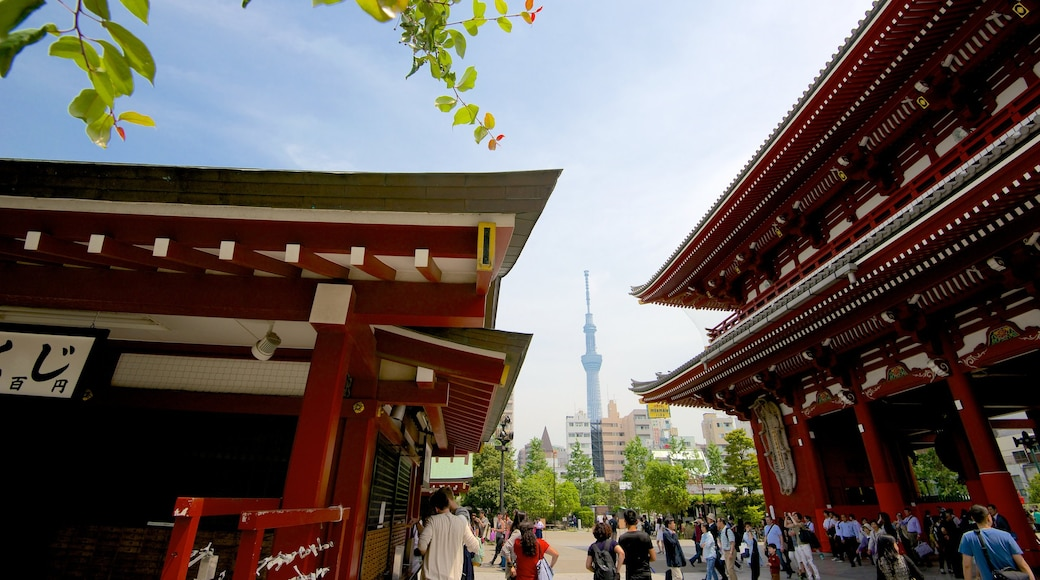 Tokyo Sky Tree featuring street scenes, a temple or place of worship and a city