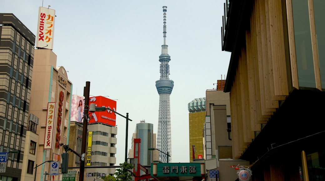 Tokyo Sky Tree showing a high rise building, city views and signage