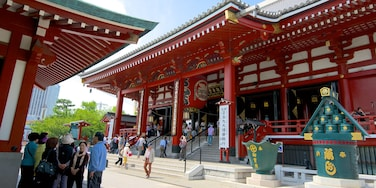 Sensoji Temple showing signage, a city and religious elements
