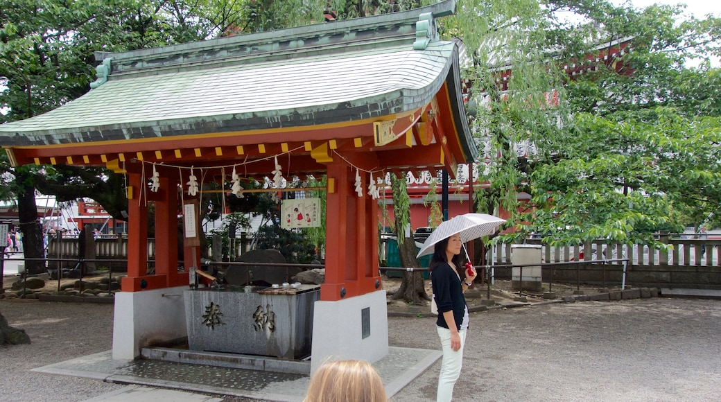Asakusa Shrine showing a temple or place of worship as well as an individual femail