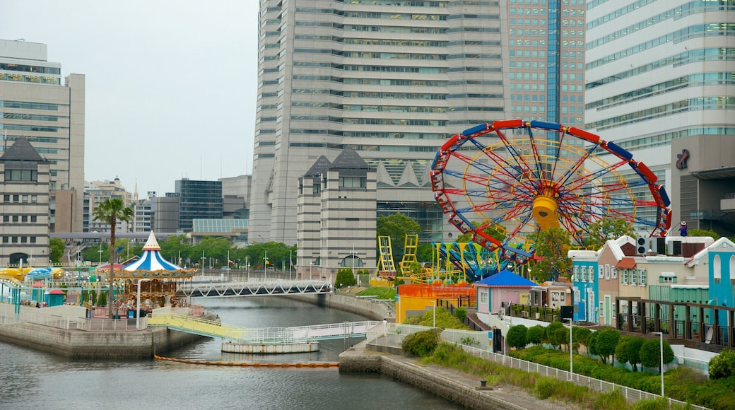Minatomirai featuring a city, a bay or harbor and rides