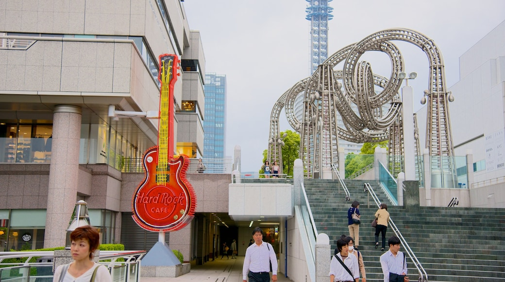 Minatomirai featuring a city, modern architecture and cafe scenes