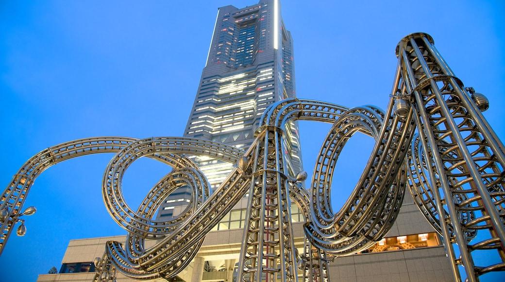 Minatomirai showing a skyscraper, night scenes and cbd