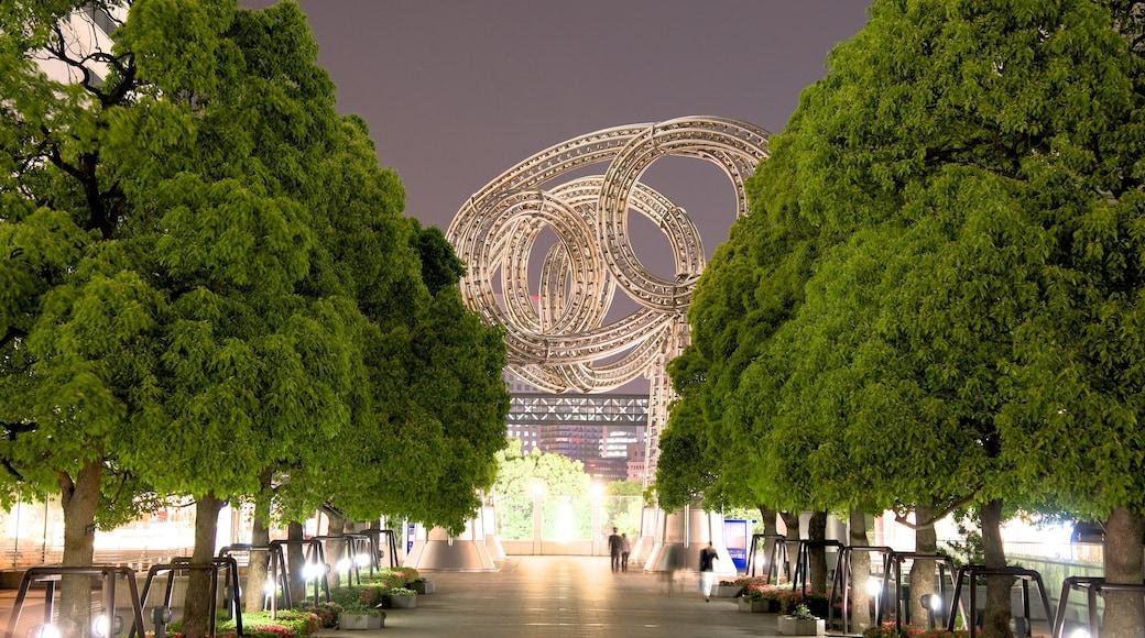 Minatomirai showing a city, a garden and night scenes