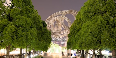 Minatomirai showing a city, a garden and night scenes