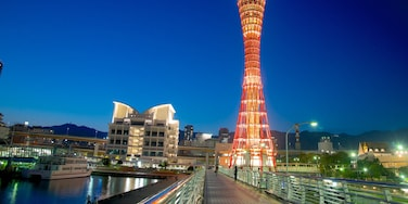 神戶塔 其中包括 夜景, 現代建築 和 街道景色