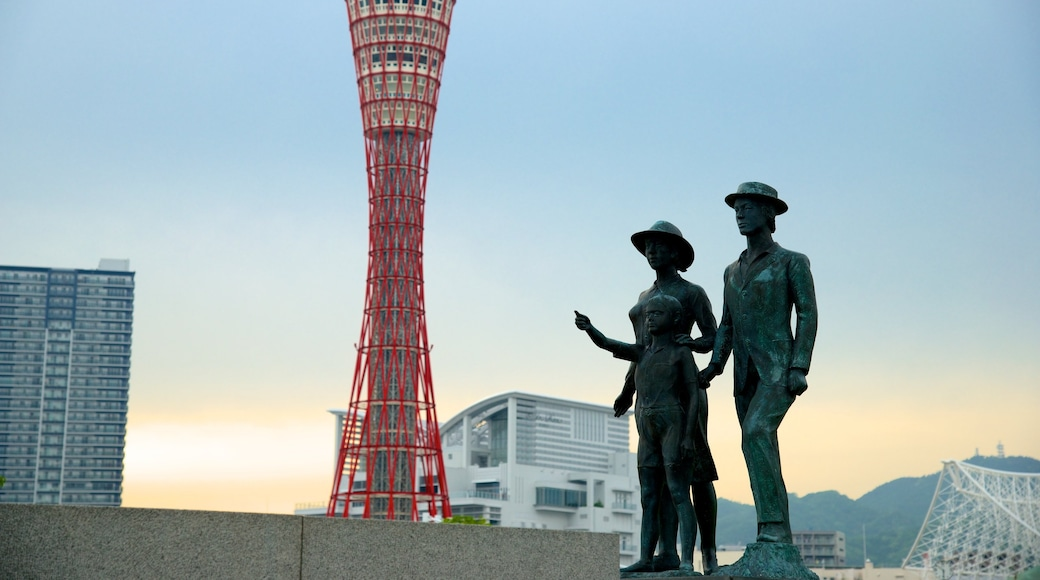 Kobe featuring a statue or sculpture, art and a city