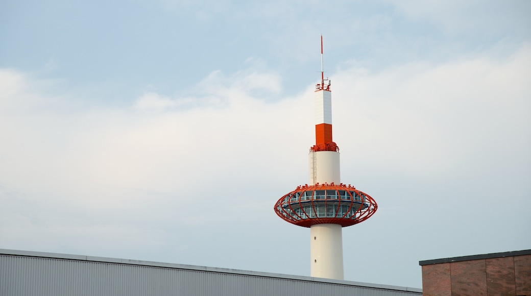 Kyoto Tower which includes a city, city views and modern architecture