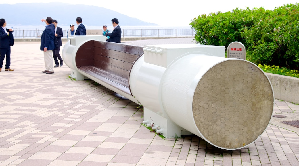 Akashi Kaikyo Bridge showing a bridge, outdoor art and art