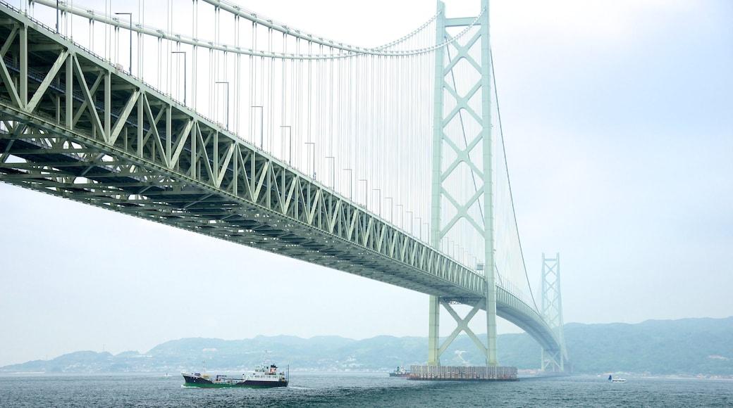 Akashi Kaikyo Bridge featuring a suspension bridge or treetop walkway, general coastal views and a bay or harbor