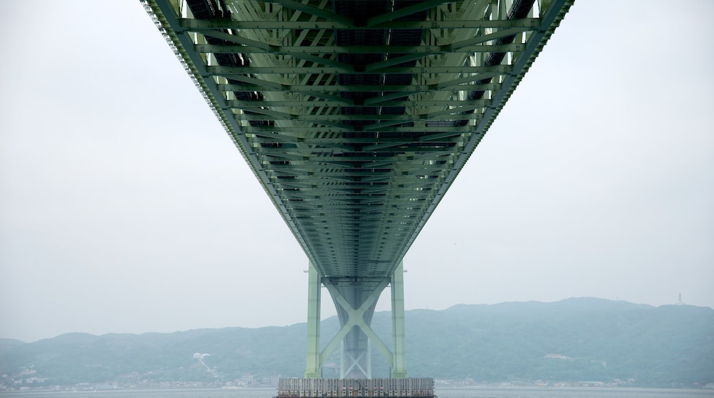 Akashi Kaikyo Bridge which includes general coastal views, modern architecture and mist or fog