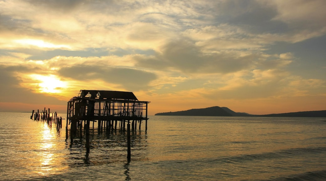Koh Rong which includes landscape views, a sunset and general coastal views