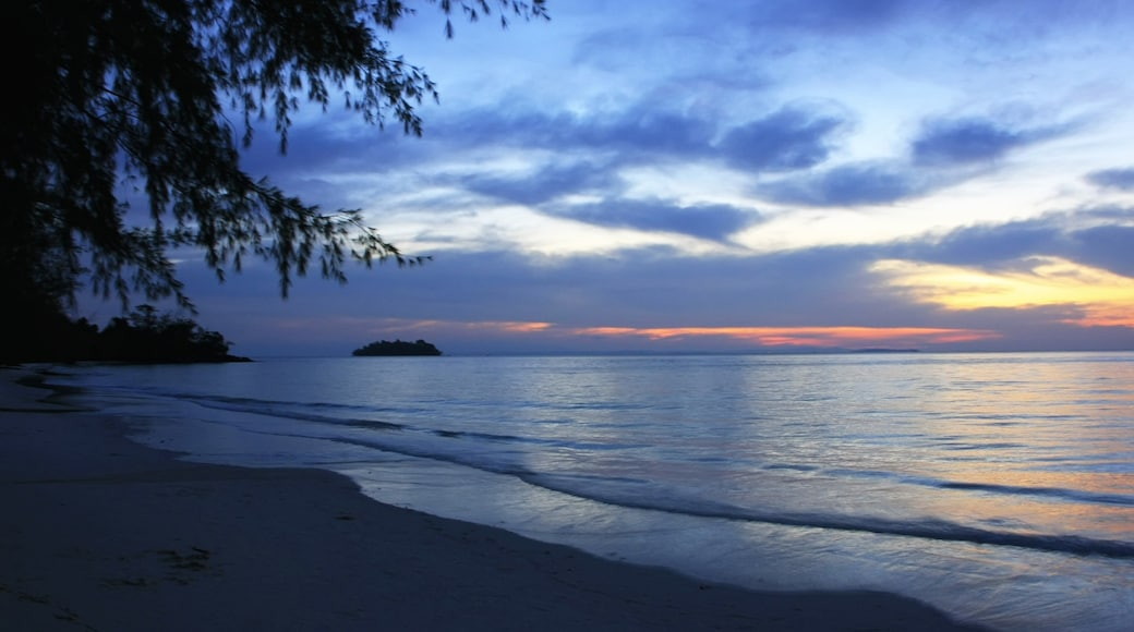 Koh Rong showing a sunset, a beach and landscape views