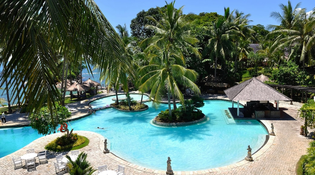 Batam Island showing landscape views, a luxury hotel or resort and swimming