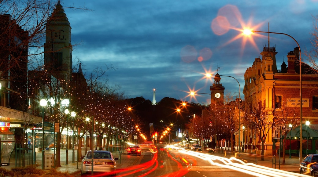 Albury featuring night scenes, street scenes and a city