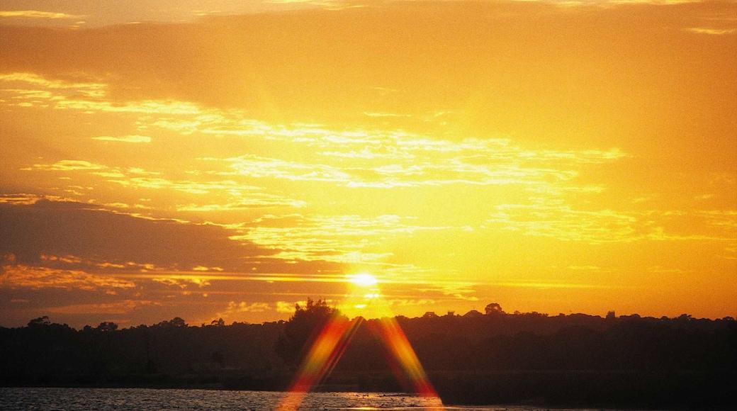 Mandurah featuring general coastal views, a sunset and landscape views