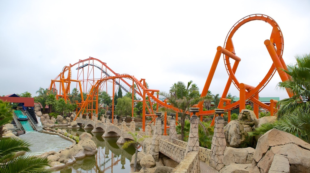Gold Reef City showing a garden, a pond and rides