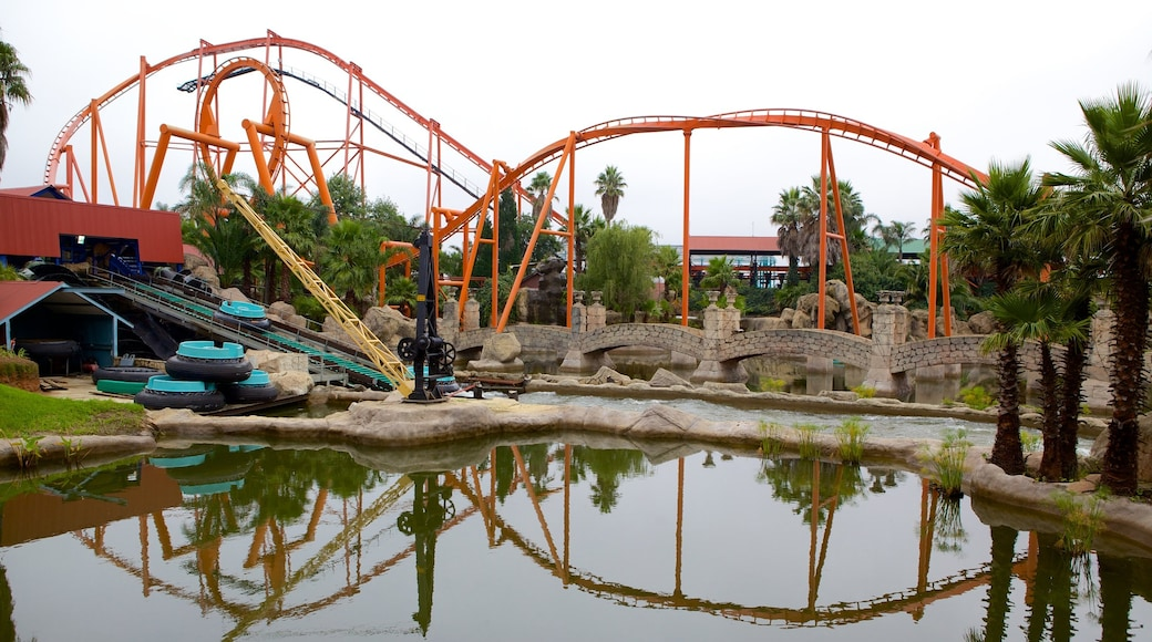 Gold Reef City featuring a pond, rides and a waterpark