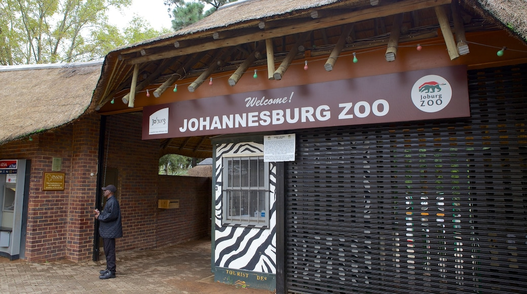 Johannesburg Zoo featuring zoo animals and signage as well as an individual male