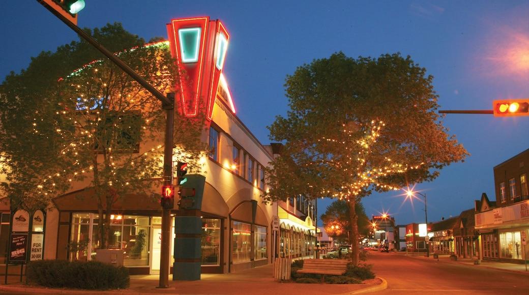 Red Deer qui includes ville, signalisation et scènes de nuit