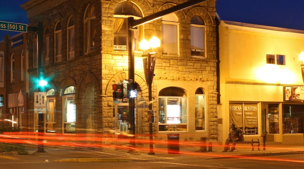 Red Deer mettant en vedette scènes de rue, scènes de nuit et signalisation