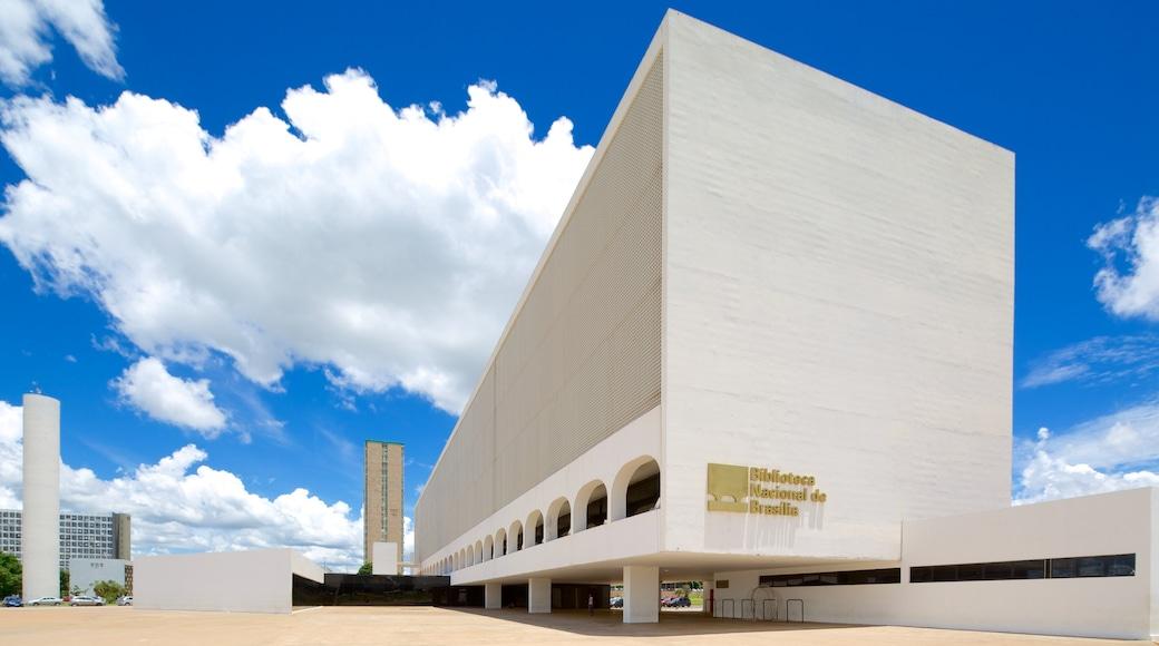 Biblioteca Nacional que incluye una ciudad y arquitectura moderna