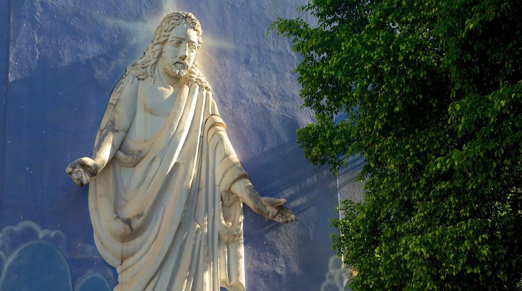 Catedral de San Juan Bautista mostrando una ciudad, una estatua o escultura y elementos religiosos