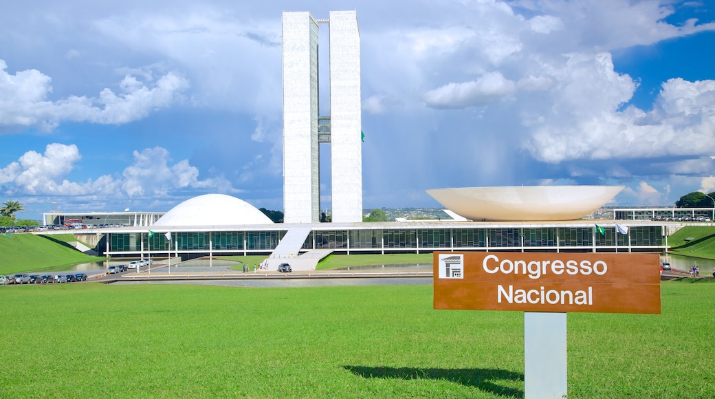 National Congress of Brazil featuring modern architecture and signage