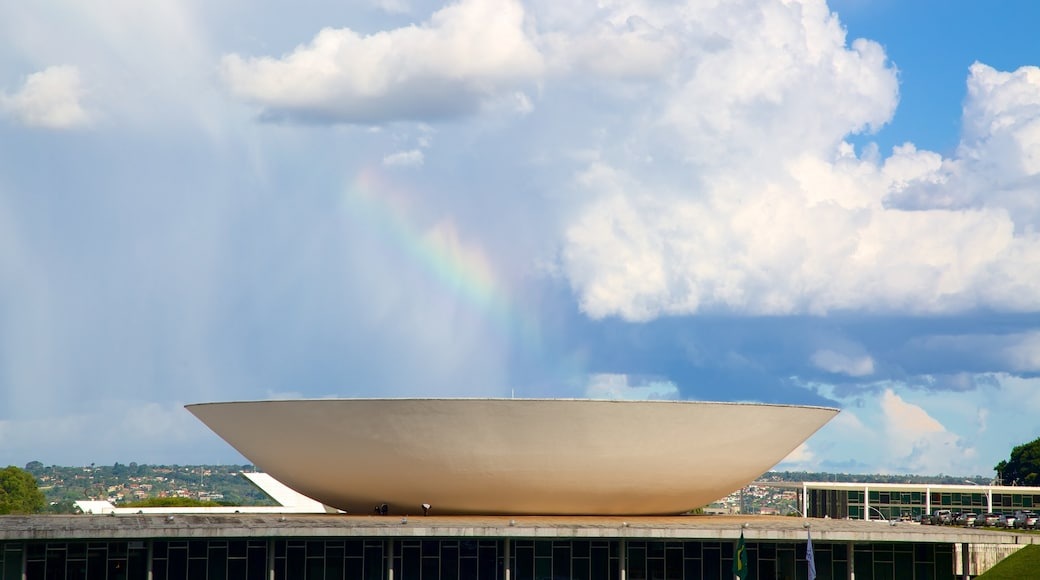 National Congress of Brazil which includes modern architecture and a city