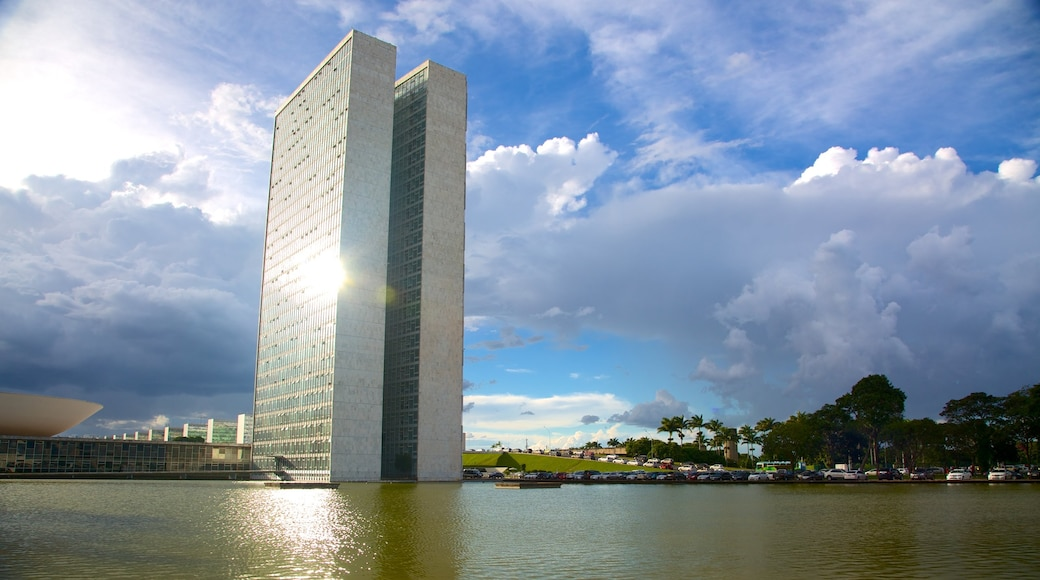 National Congress of Brazil showing a river or creek, modern architecture and a city