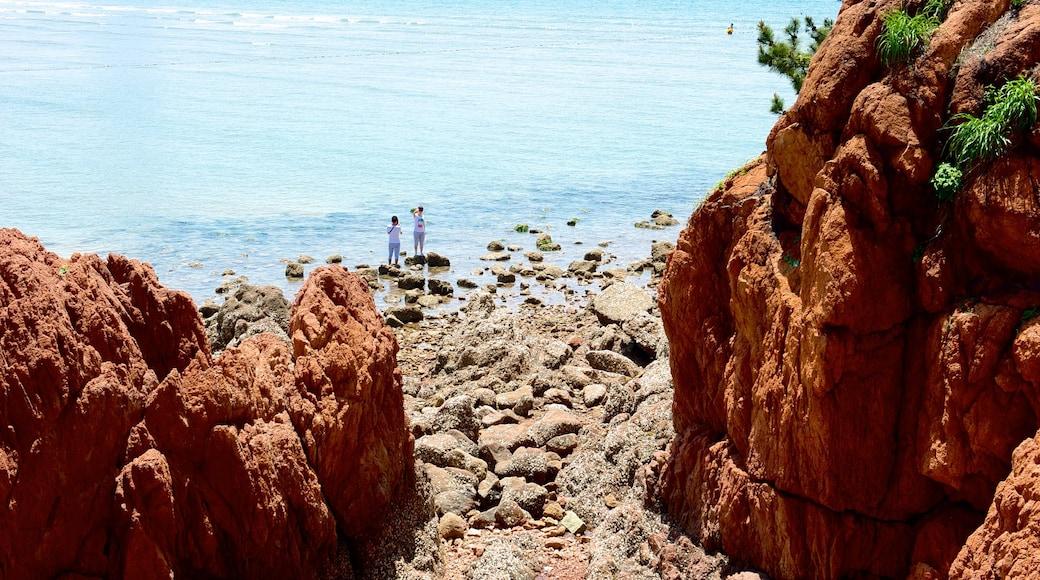 Playa Número 1 mostrando una playa de guijarros y costa escarpada