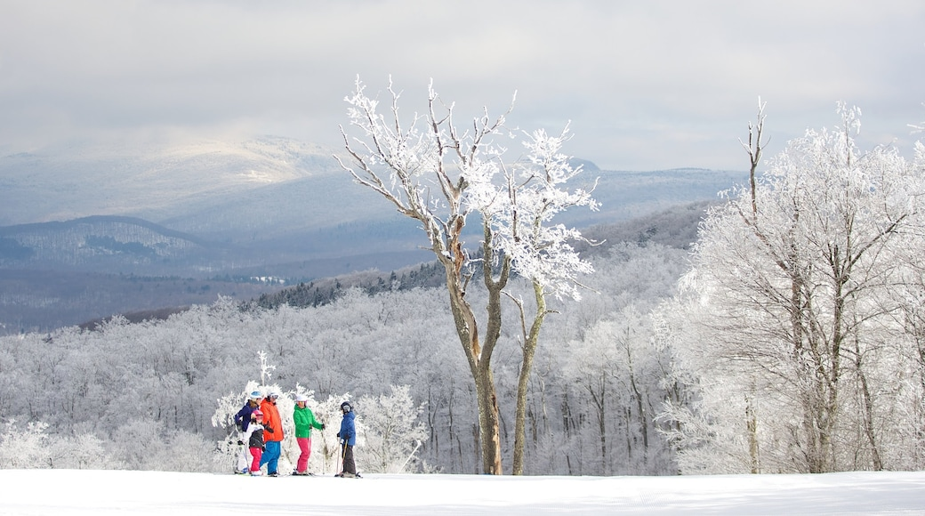 The Berkshires showing snow as well as a family