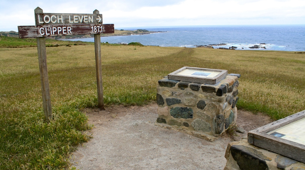 King Island which includes signage, landscape views and general coastal views