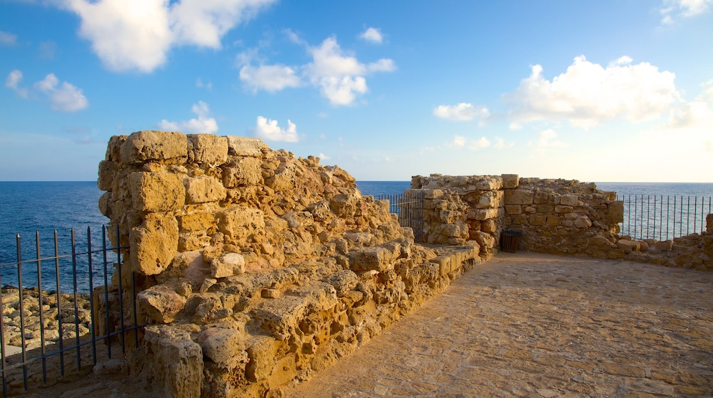Paphos Castle showing building ruins and general coastal views