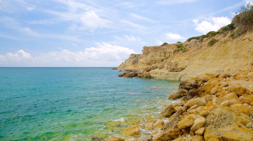 Coral Bay Beach showing rugged coastline