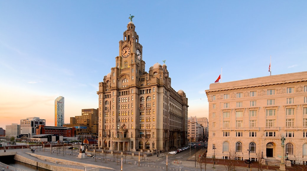 Royal Liver Building showing a city and heritage architecture