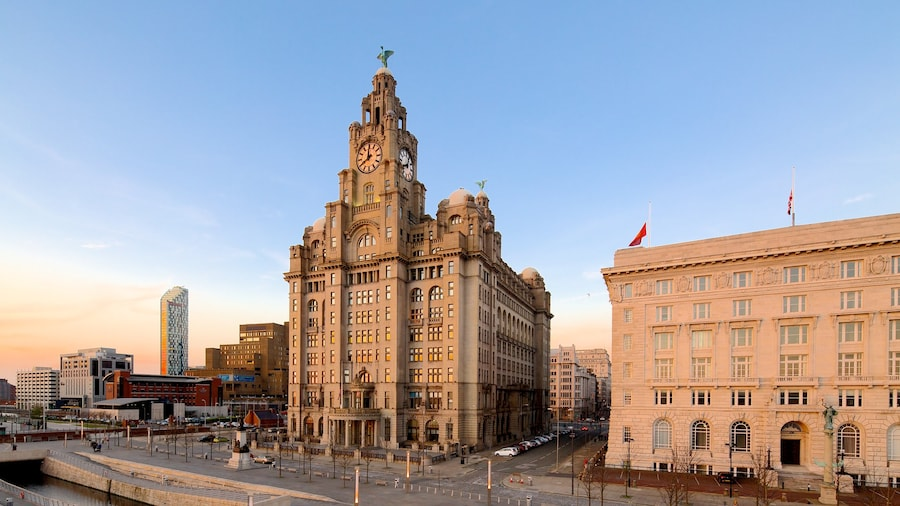 Royal Liver Building which includes heritage architecture and a city