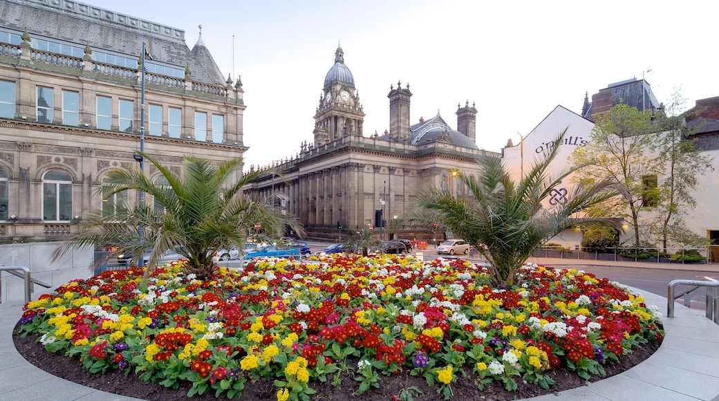 Leeds featuring a garden, heritage architecture and flowers