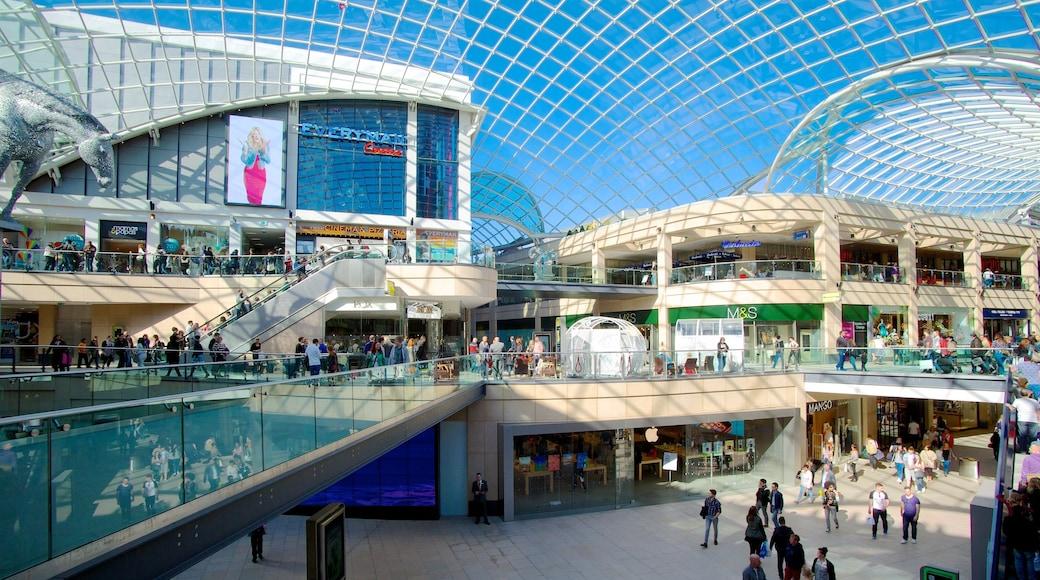 Centro comercial Trinity Leeds que incluye arquitectura moderna, vistas interiores y escenas urbanas