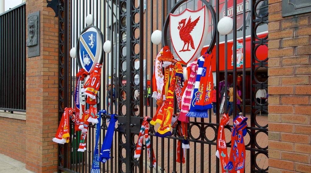 Anfield Road Stadium featuring signage