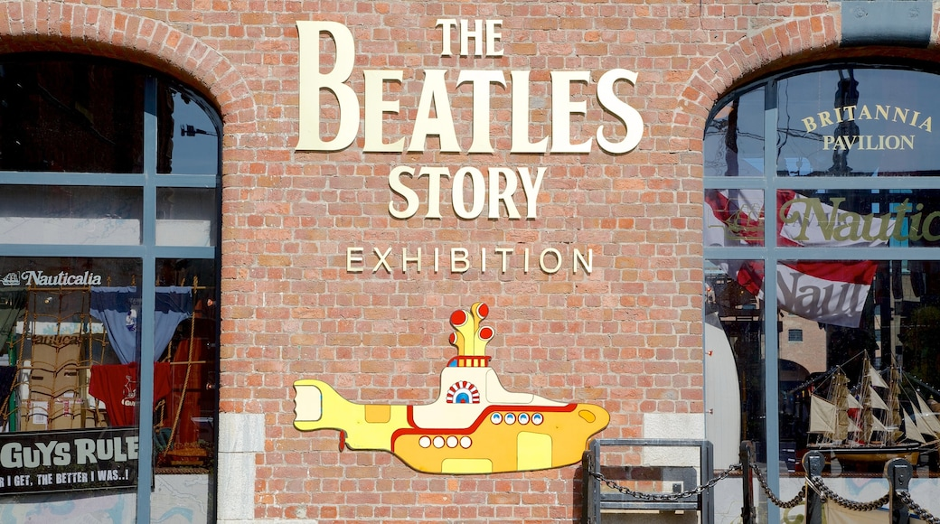 Beatles Story showing street scenes and signage