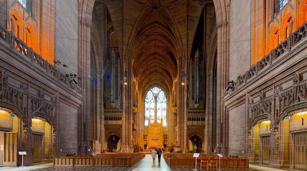 Liverpool Anglican Cathedral which includes interior views, a church or cathedral and religious elements