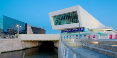 Museum of Liverpool showing modern architecture and a river or creek