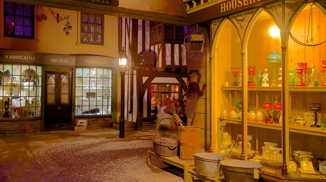York Castle Museum featuring street scenes and night scenes