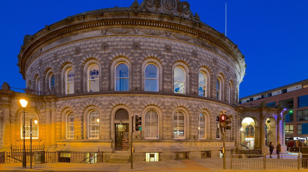 Corn Exchange which includes night scenes and heritage architecture
